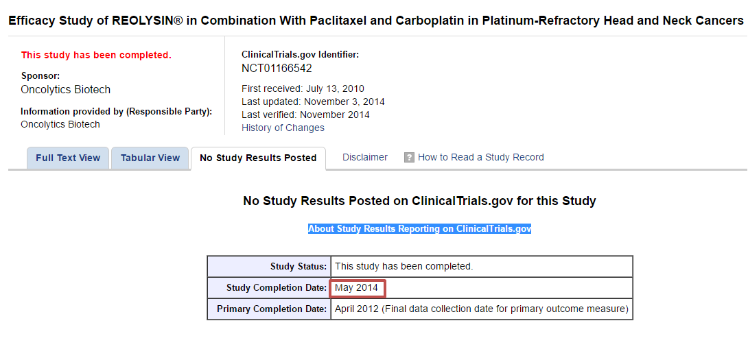 Why are some clinical trials finished, but the results not reported
