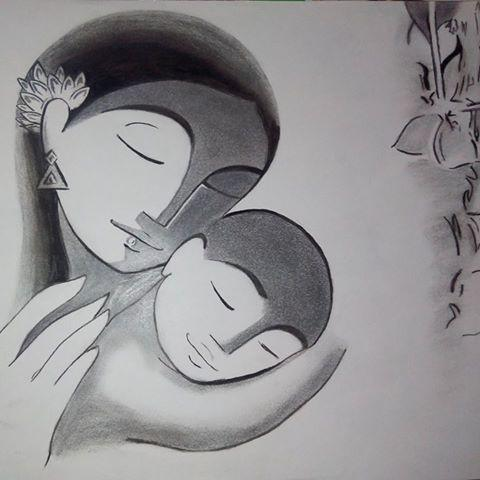 Mothers love this one is a blend of charcoal and pencil
