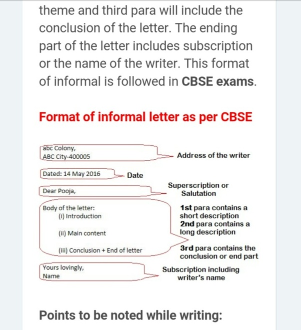 How to write an informal letter in the 9th board exams quora this is an example and above on is formatt ry to right only in this formatb basically both formats are correct spiritdancerdesigns Image collections
