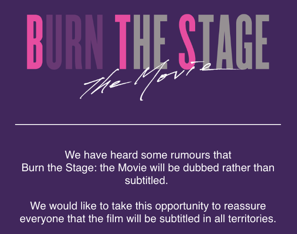 Will BTS's Burn the Stage be subbed or dubbed? - Quora