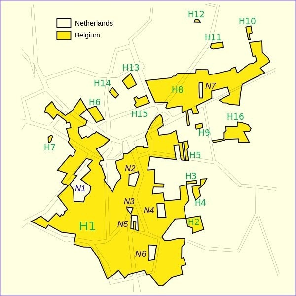 parts of belgium are completely surrounded by the netherlands and vice versa