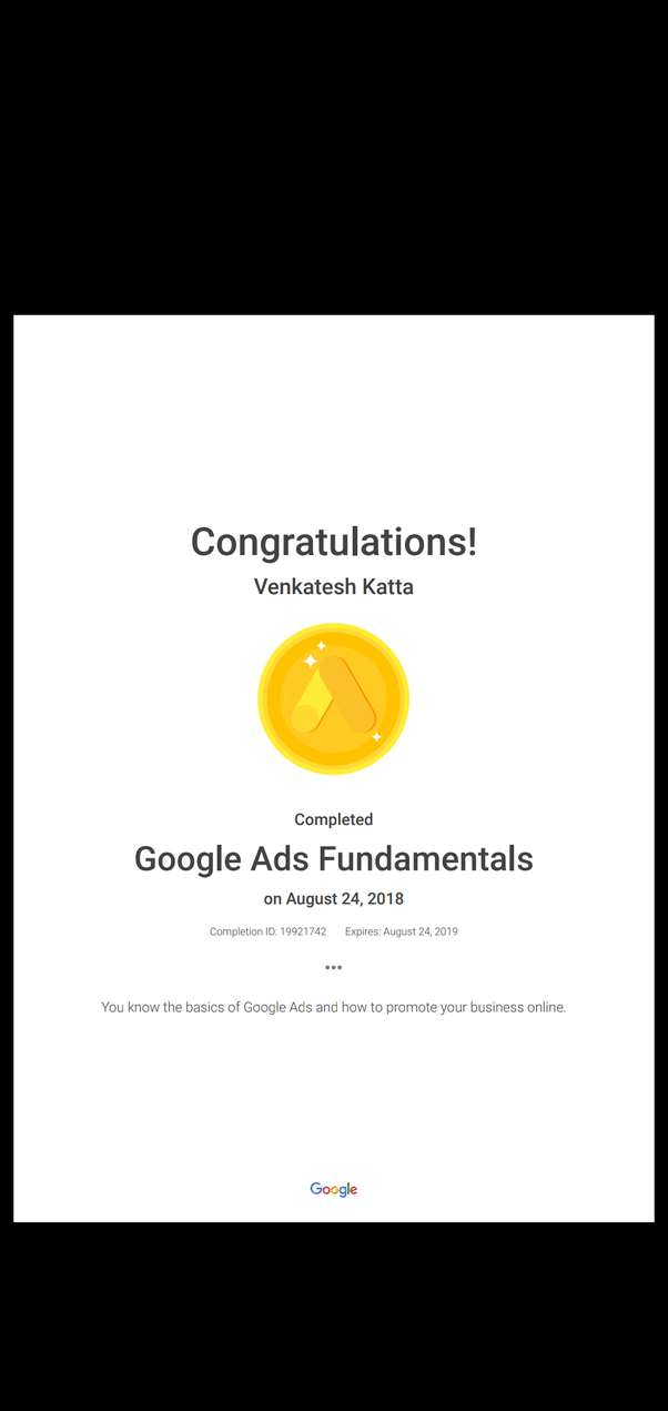 What Is The Validity Period For A Google Certificate Of Fundamentals