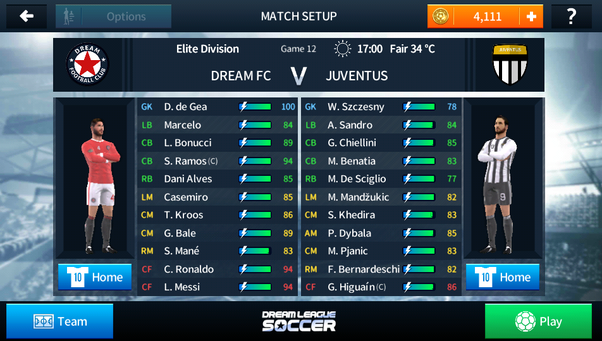 Which are the best squad and tactics in Dream League Soccer