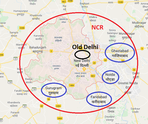 Delhi Ncr Map What is the difference between Delhi, New Delhi, and Delhi NCR  Delhi Ncr Map