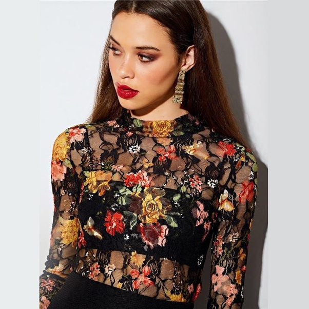 Floral Lace Slim Mesh Top-Chicbohostyle