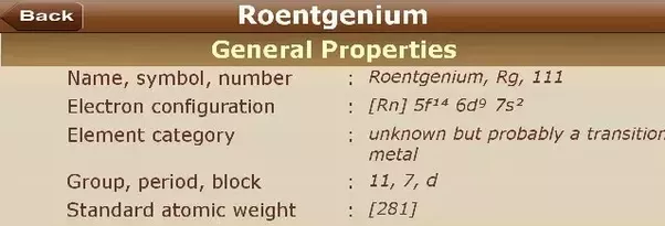 What are the elements that have an atomic number of 111 quora the element that have an atomic number 111 is roentgenium its general properties physical properties and atomic properties are as follows urtaz Gallery