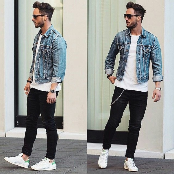 2849eaebc08 Denim jackets look best with a basic white T-shirt styled with a black jeans  and a pair of white shoes. You can also add some accessories to make it  more ...