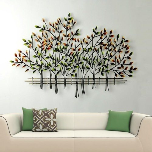 Bring crisp colorful fall design into your home with this autumnal metal wall art tree
