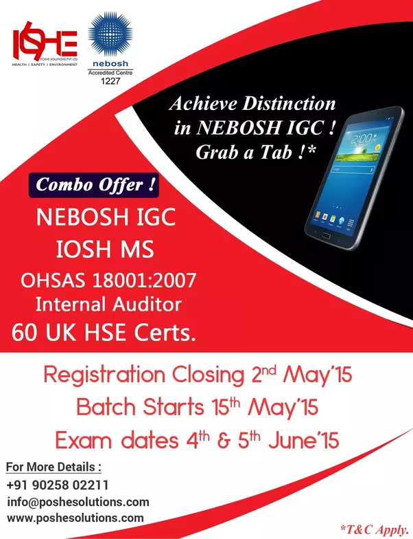 Registration Is Open Now NEBOSH International General Certificate IGC In Chennai For More Information Visit