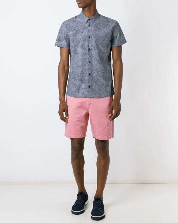 2f4c8c6d In this final photo, you can see a patterned grey shirt worn with a pair of pink  shorts. I'd wear a dark pair of shoes with this outfit too.