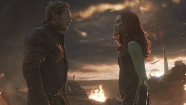 """Why did Gamora kick Quill in his """"nether region"""" in Avengers: Endgame in the final fight scene between Thanos and his army and all the Avengers? - Quora"""