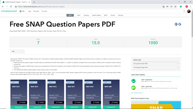 Snap Previous Year Question Papers Pdf
