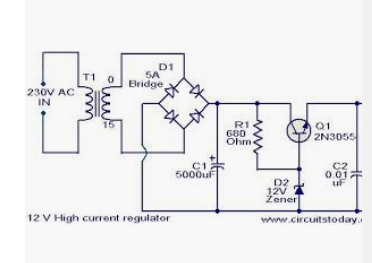 How to make a 220v to 12v supply using a zener diode and a ... High Current Power Supply Schematic on
