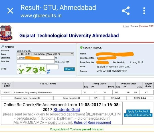 How to clear my maths 3 advanced engineering maths exam in gtu quora result of my maths 3 kt which i solved successfully in my last semester because of that guyresult was announced recently malvernweather Choice Image