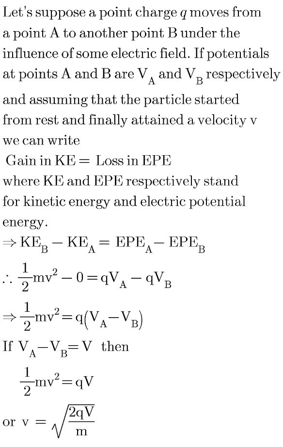 Now In The Given Problem Q E Charge Of An Electron M And Potential Difference V 45 5 Volts On Putting These Values