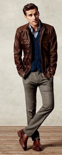 How to style business casual attire with a leather jacket ...