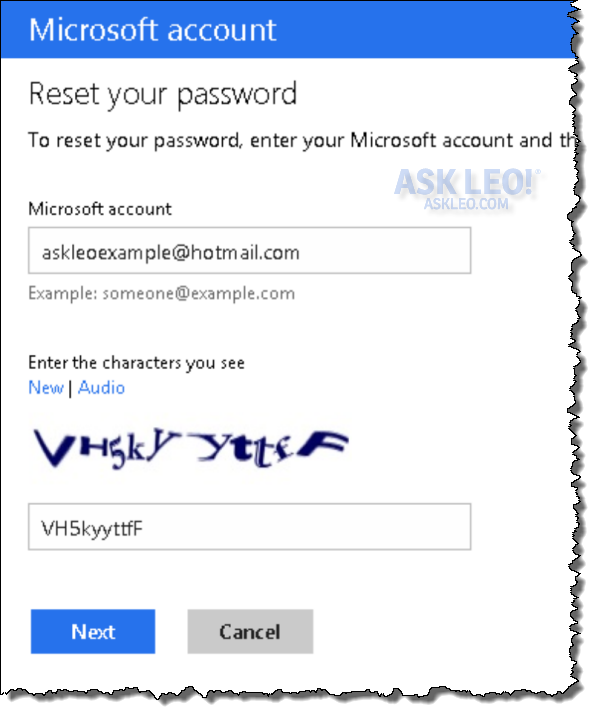 Hotmail password lost