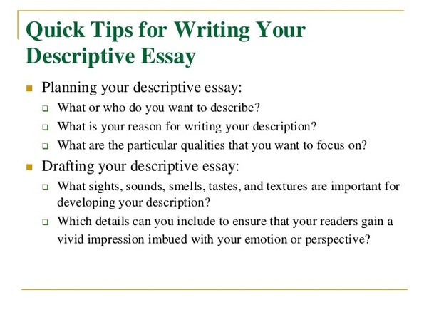 Writing a good descriptive essay