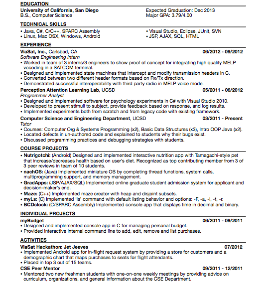 what does the resume of someone who got a software engineering
