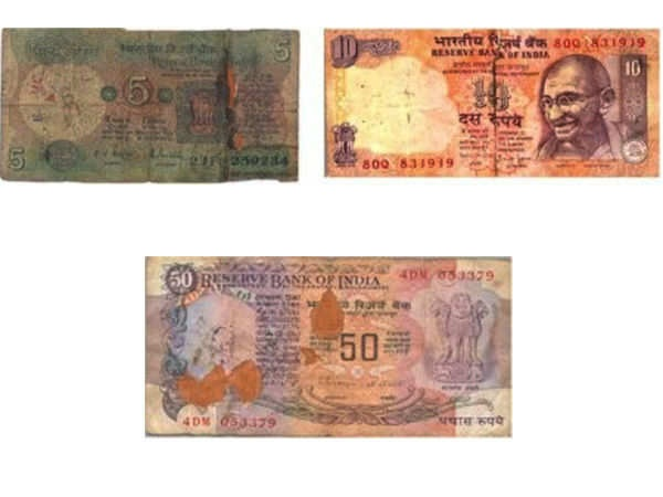 Soiled Notes Are Those Which Have Become Dirty And Or Slightly Cut Numbers On Two Ends Meaning Of Rs 10 Above That Cuts