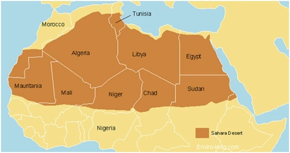 Countries Covering Sahara Desert