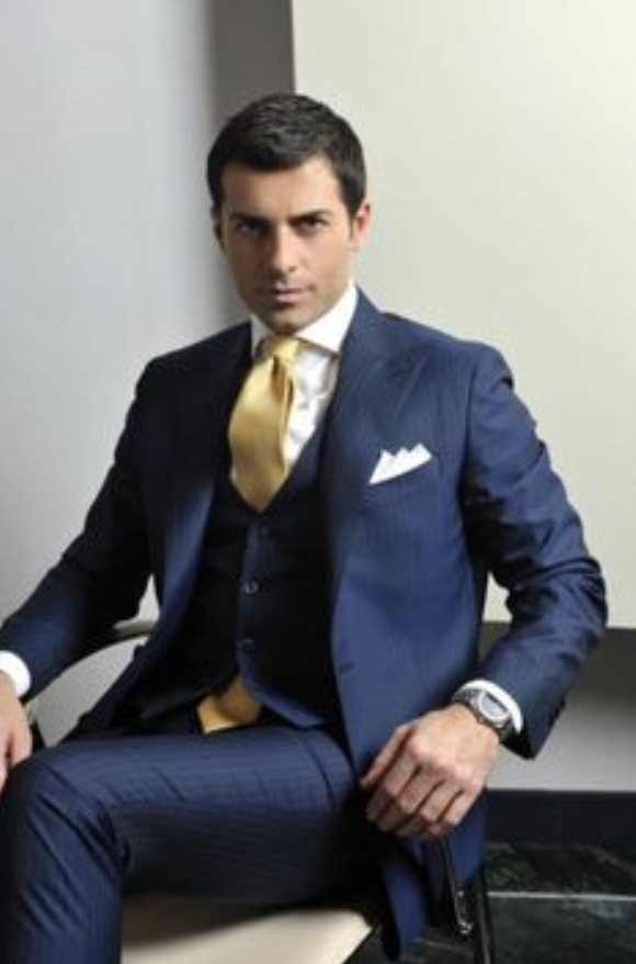 e1644439c Navy Blue Suit White Shirt Gold Tie - The Gold Picture