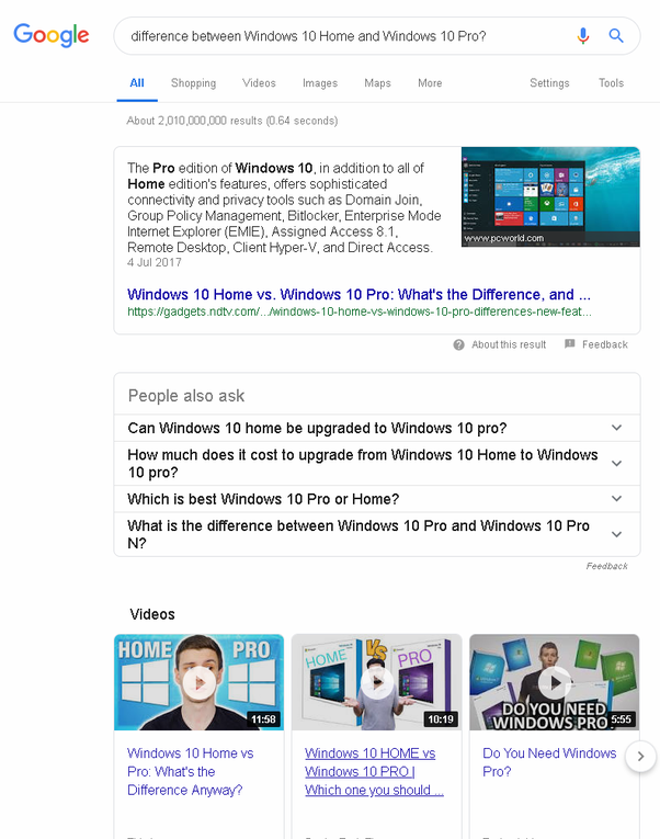 whats the difference between windows 10 home and pro