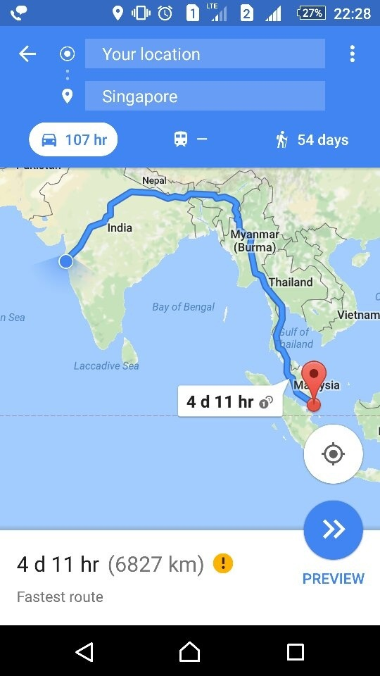 Is it possible to drive car to Singapore from Mumbai? - Quora