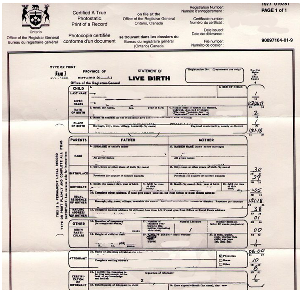 will ontario, canada long form birth certificate list my ...