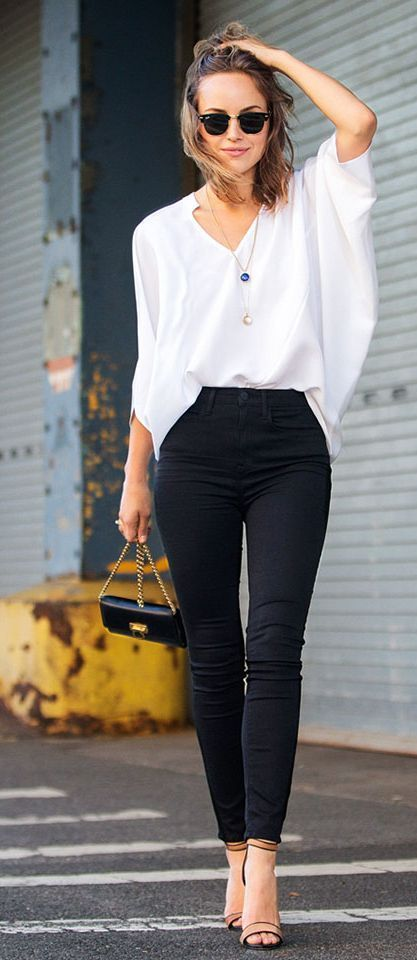 4d977f1193467b ... jeans/shorts or black slacks. Very simple, classy, and clean. This is  probably the easiest way to style a white blouse. And, it'll work for any  kind of ...