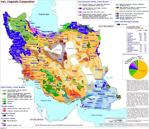 Do Iranians Only Speak PersianFarsi If Not Then What Other - Farsi language map
