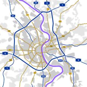 this is the autobahn around the city of cologne as you can see the blue lines are not cutting into the city centre but are touching the suburbs and two