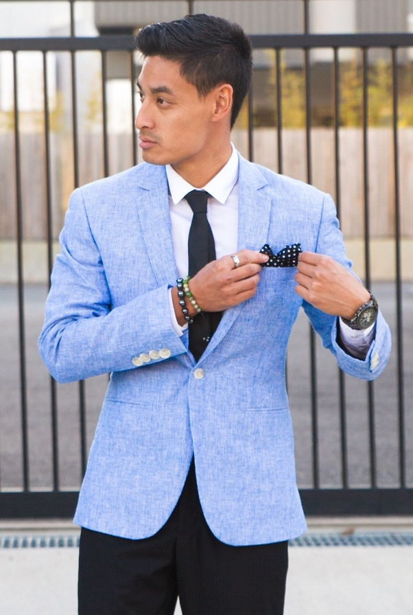 Light blue with color pants blazer what 7 Navy