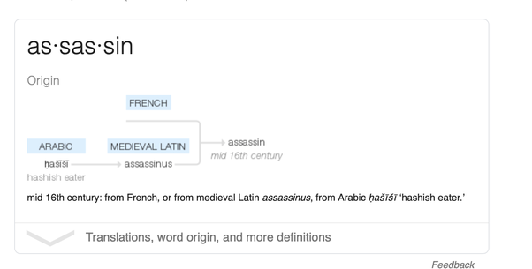 Which Language Do The Words Assassin Magazine And Sofa Come From