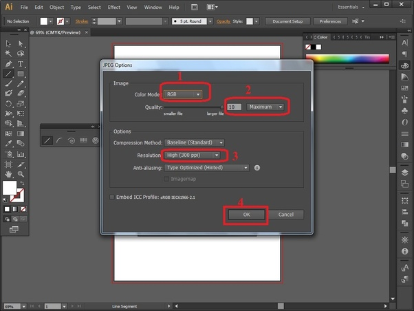 How to export  jpg/ png from Adobe Illustrator with a high