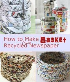 Baskets Out Of News Paper Image Pinterest