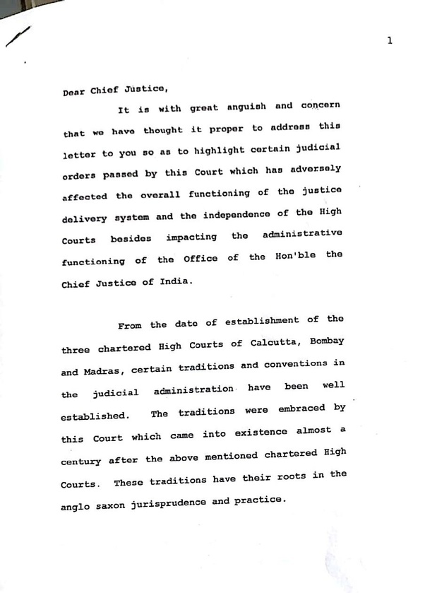 what did supreme court judges write in their letter to cji quora