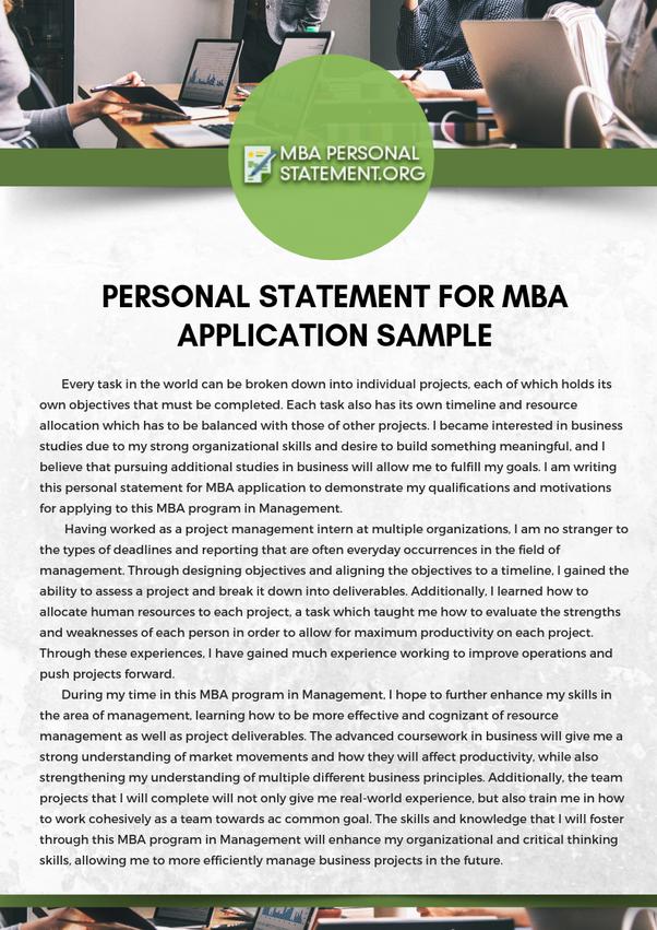Mba personal statement
