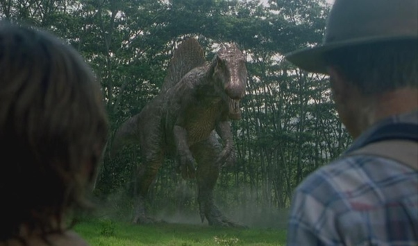 In the Jurassic Park III movie, what does the Spinosaurus