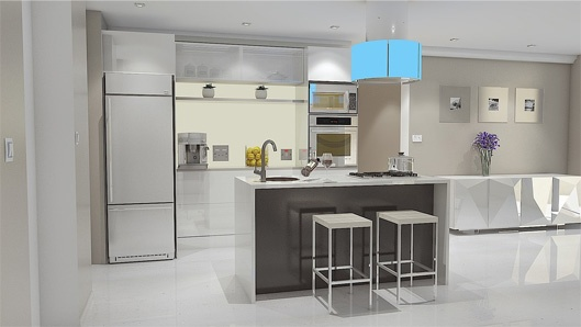 3D View Of Modular Kitchen (open Style Kitchen)