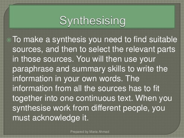 Do you synthesise