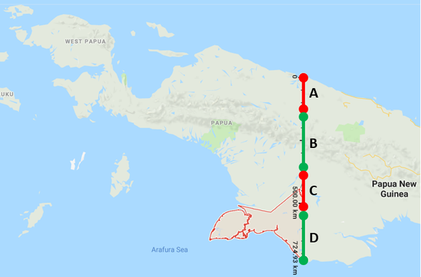 How is the infrastructure near Indonesian borders with Papua