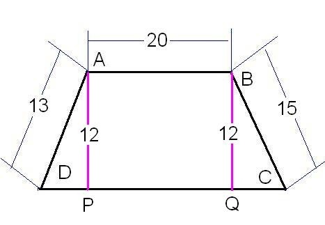 Abcd is a trapezoid where abcd they are parallel ab 20 bc the trapezoid is drawn as follows with the given dimensions marked in it ccuart Images