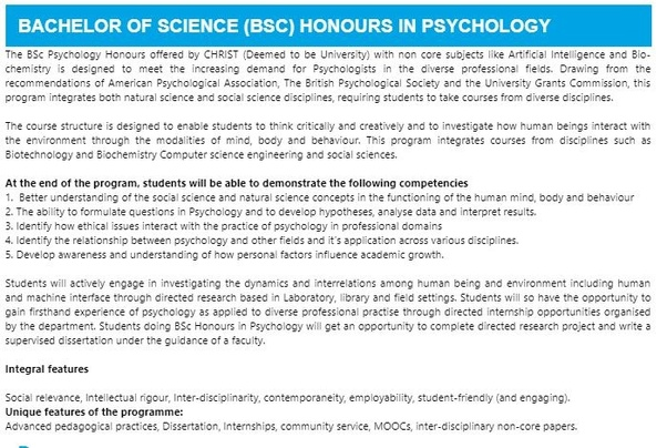 How is BSc (hons) Psychology at Christ university? - Quora