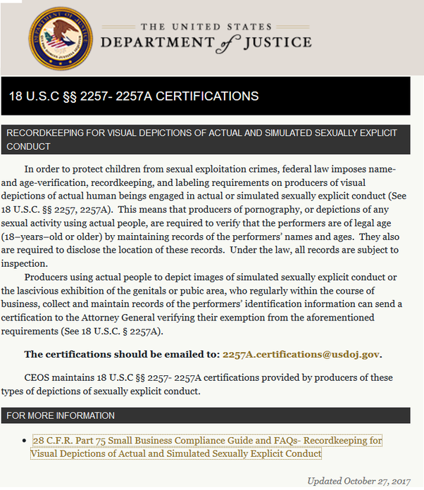Below Shows 18 U S C  C2 A7 C2 Aa Certification Regulations From The Department Of Justice Website Adult Entertainment Companies Must Comply With