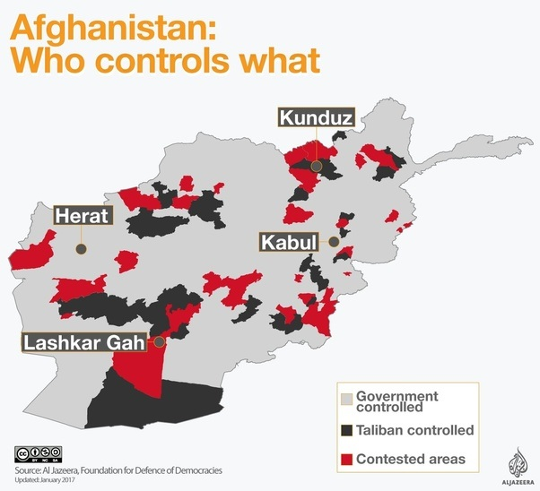 however the commander of us forces in afghanistan army general john nicholson said the taliban presence is mostly in rural areas