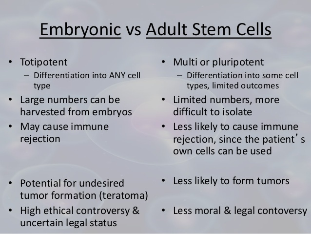 Consider, adult stem cells versus embryonic turns