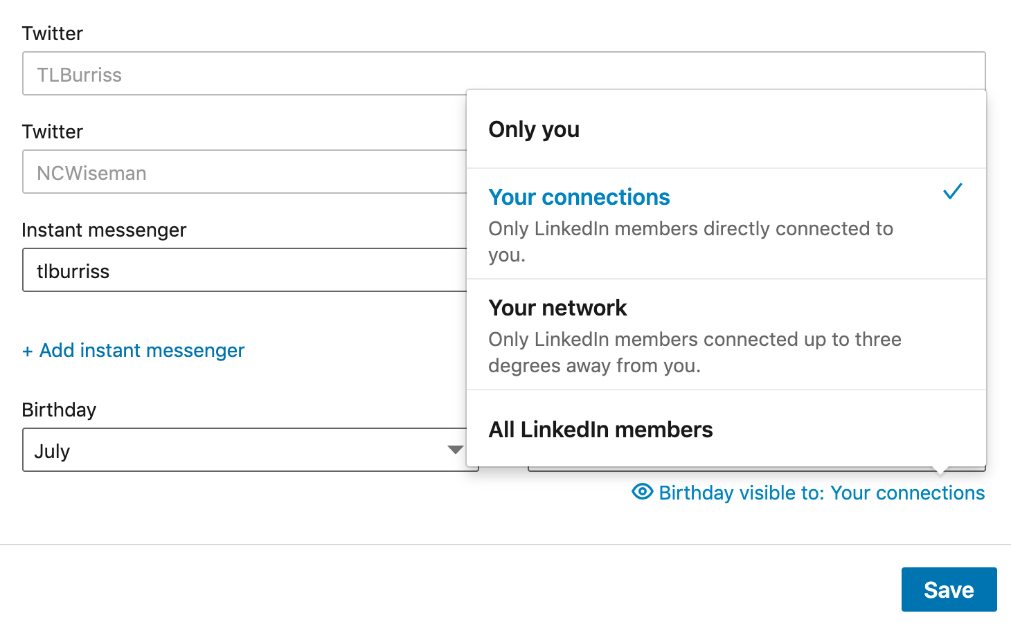 Remove Birthdays From Linkedin
