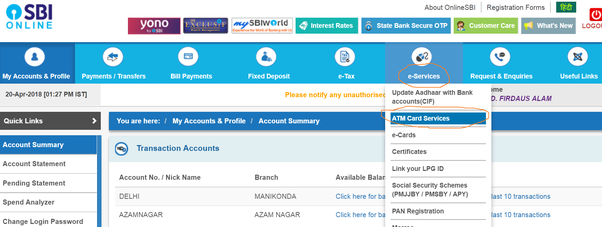 How to generate an ATM pin for my SBI Visa card online - Quora