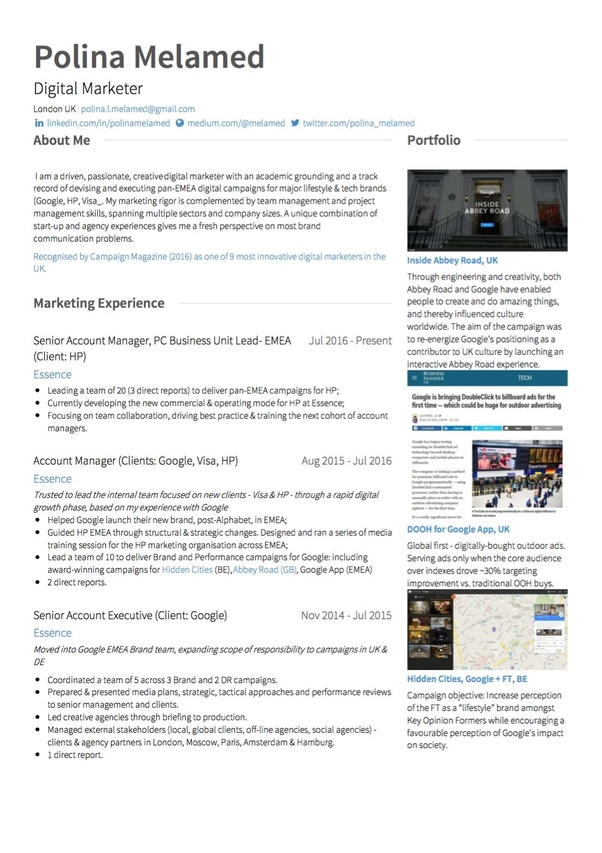 Can Any One Give Sample Digital Marketing Resume Quora